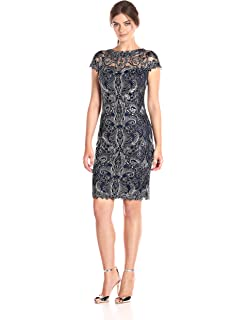 3a754b78aa8 Amazon.com  Tadashi Shoji Women s Cap Sleeve Floral Lace Dress  Clothing