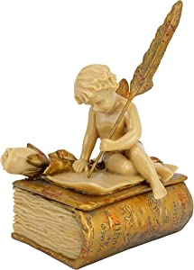 Design Toscano PD2055 The Love Letter Cherub Trinket Jewelry Box Statue, 6 Inch, Polyresin, Ivory and Gold Finish