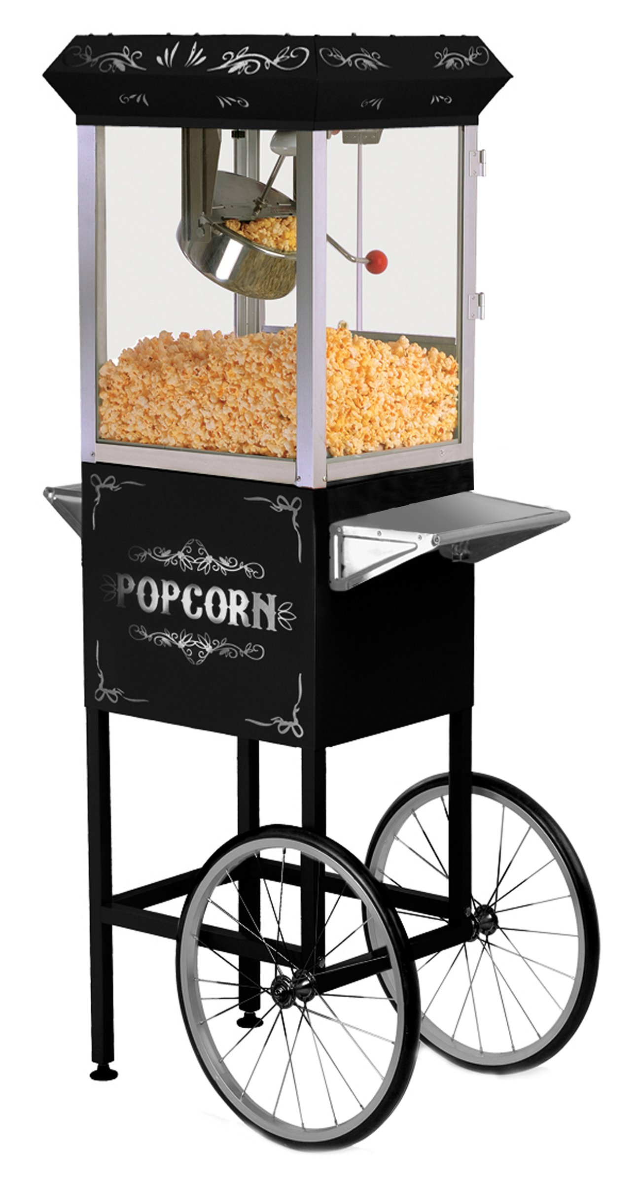 MaxiMatic EPM-200B Elite Deluxe Popcorn Popper Machine with Trolley, 8-Ounce, Black