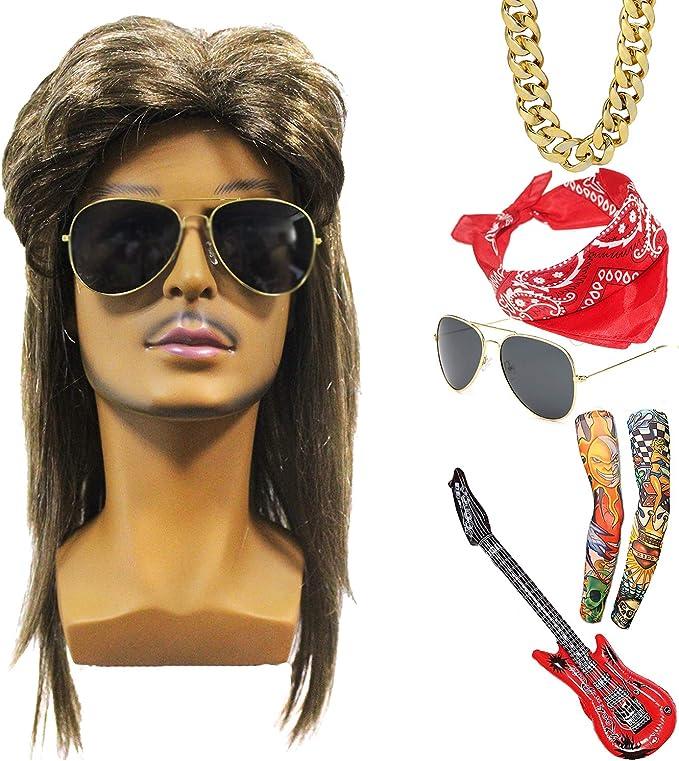 Mens Glam Rocker Costume 70s 80s Spandex Kiss Rock Punk Star Fancy Dress Outfit
