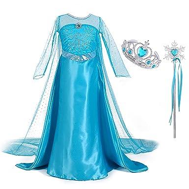 Kinder Mädchen Eiskönigin Prinzessin Elsa Kleid Frozen Kostüm Eisprinzessin