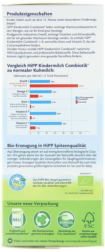 leche para bebés Hipp Bio Combiotik - de 1 año, 4-pack (4 x 600g): Amazon.es: Alimentación y bebidas
