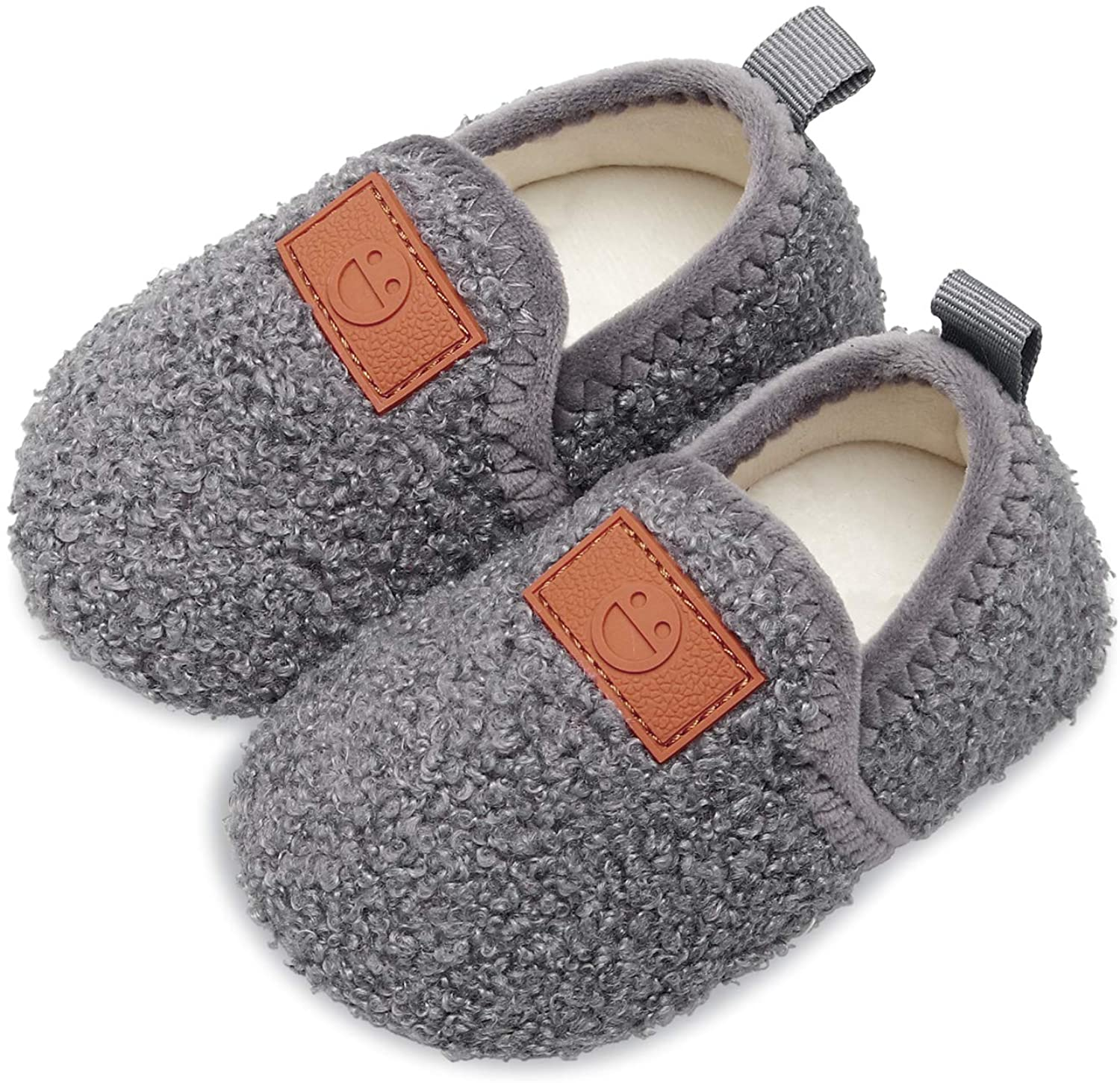Scurtain Kids Toddler Slippers Socks Artificial Woolen Slippers for Boys Girls Baby with Non-Slip Rubber Sole