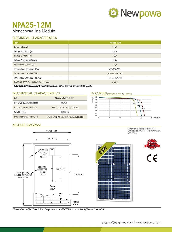 25 Watts Monocrystalline Newpowa 12v Mono Solar Panel Module 20W 25W 30W Rv Marine Boat Off Grid