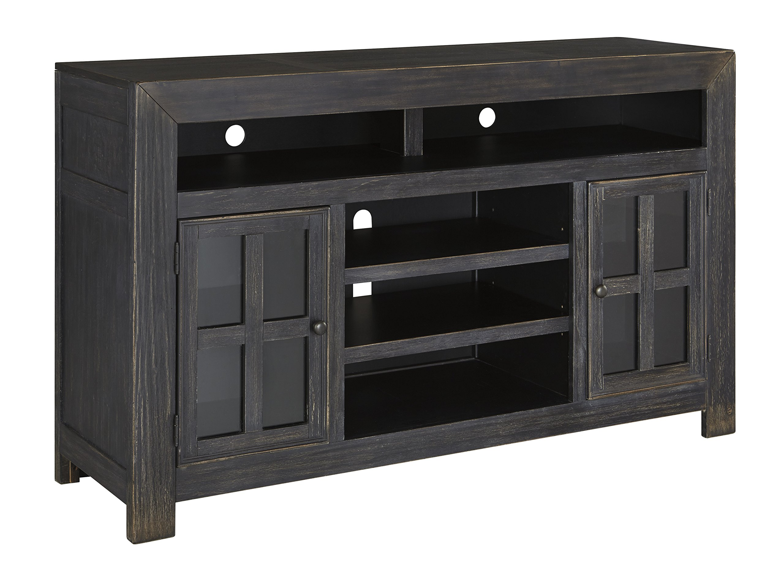 Ashley Furniture Signature Design - Gavelston TV Stand - Electric Fireplace - Entertainment Console - 61 in - Black by Signature Design by Ashley