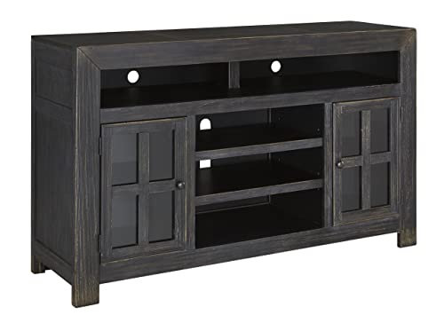 Signature Design by Ashley Gavelston Large TV Stand with Fireplace Option Black