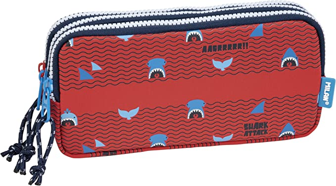MILAN Portatodo 3 cremalleras Shark Attack, rojo: Amazon.es: Oficina y papelería
