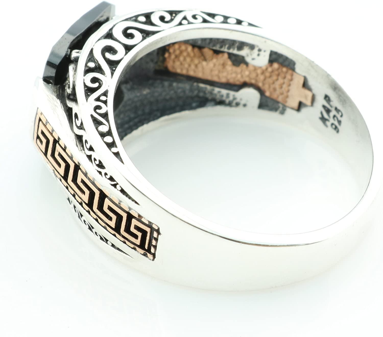KAR 925K Stamped Silver Zircon Mens Ring K4I