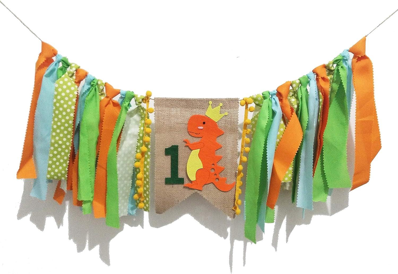 Dinosaur Party Supplies Decorations–Dinosaur Highchair Banner Baby Boy 1st Birthday High Chair Bunting Garland Decoration Wall Decor for Photo Booth Props,Happy Birthday Banner (New Dinosaur Orange)