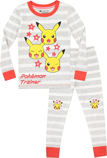 Pikachu Pokemon Kid Boys Gils Long Sleeve Home Casual Sleepwear Pajamas Set Cute