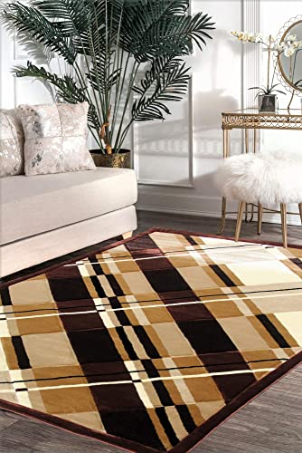 Viventez Maria Collection Modern Abstract Red Grey Black White Area Rug Carpet 2×8, 5×8, 8×10 8×10, Brown