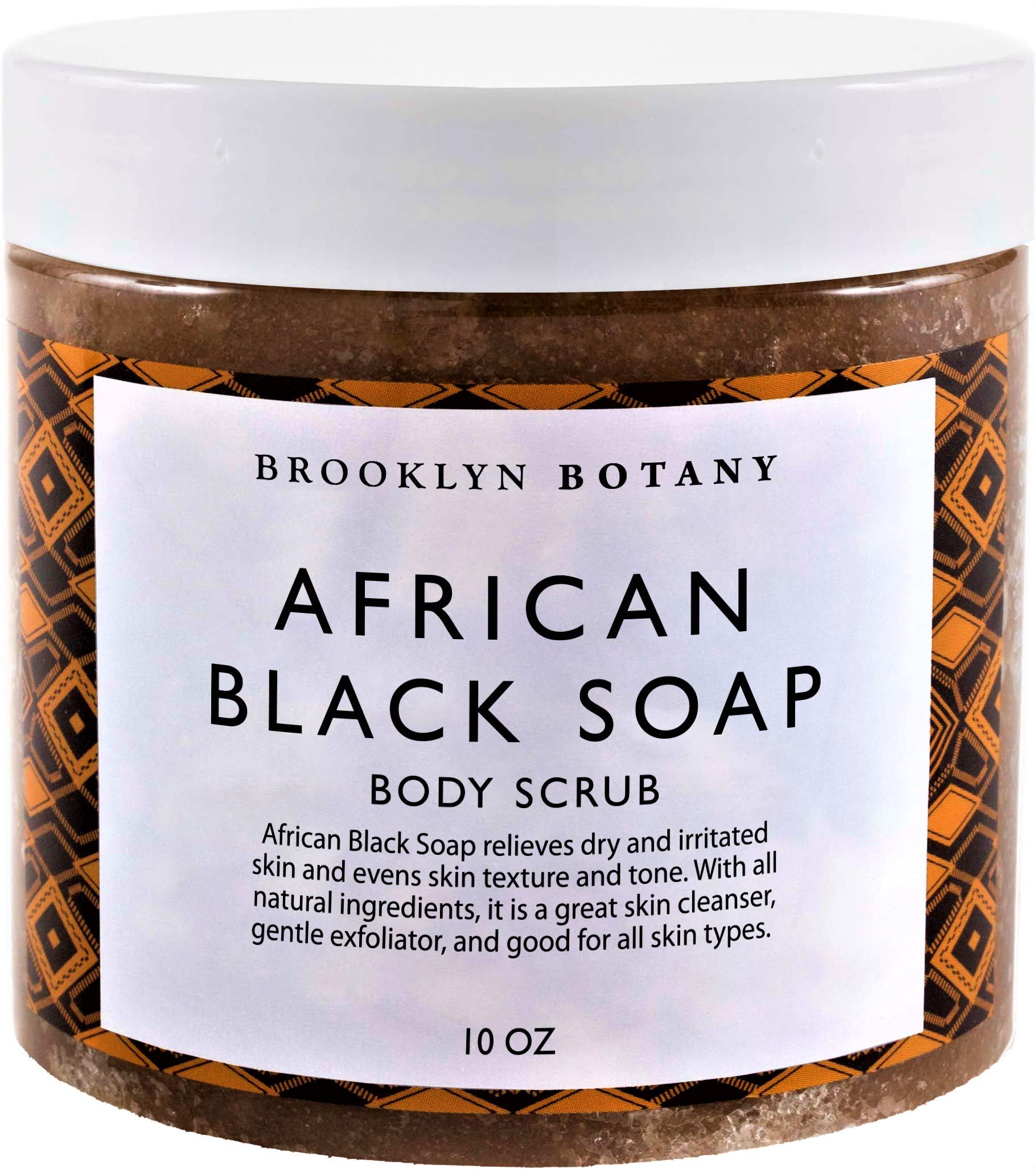 Brooklyn Botany African Black Soap Body Scrub Face Scrub 10 oz - Shea Butter & Coconut Oil - Eczema Soap Acne Treatment - Exfoliate & Moisturize, Facial Scrub, Back Acne, Relieve Dry & Irritated Skin by Brooklyn Botany