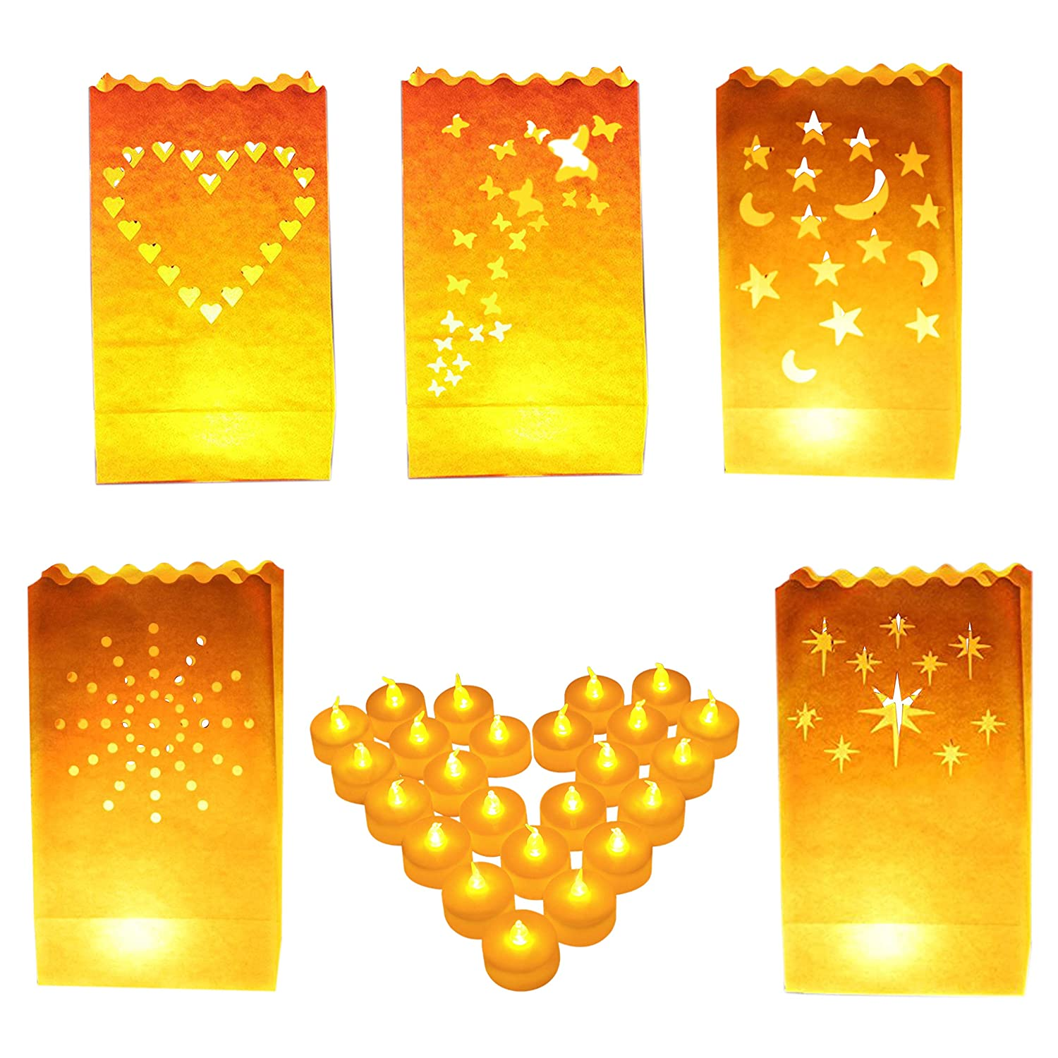 Luminary Bags - 50 Pack Candle Bags with Star, Heart, Dot, Moon and Butterfly Design with 50 Tea Lights Candle - Decorative White Paper Candle Bags Perfect for Indoor and Outdoor Use Kurtzy CB-523