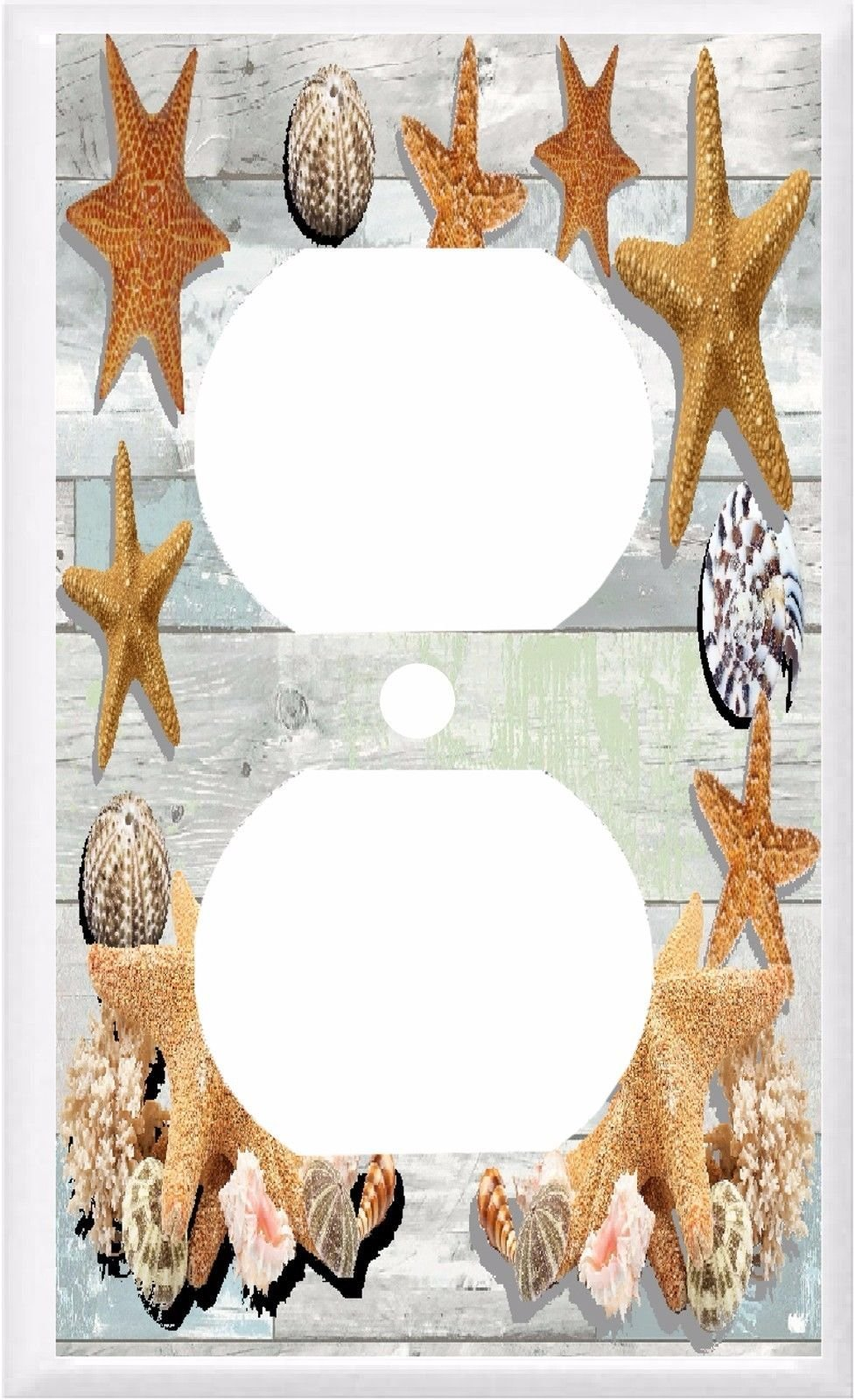 STARFISH SEA SHELLS ON WEATHERED WOOD LIGHT SWITCH COVER PLATE (1x Outlet)