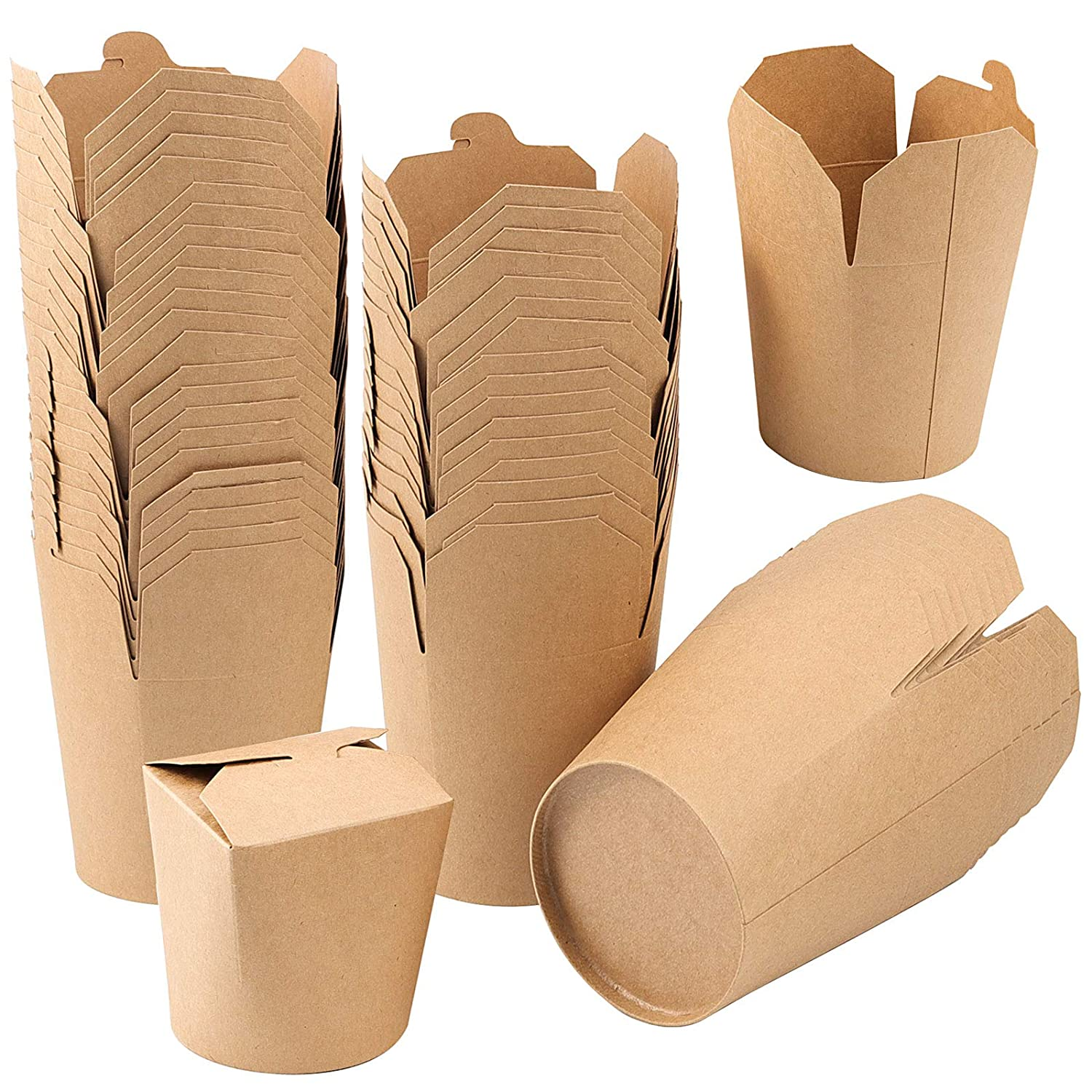 ZOENHOU 25 Pack 26 Oz Small Chinese Take Out Boxes, Leak and Grease Resistant Kraft Paper Takeout Food Containers, Stackable Microwaveable to Go Food Boxes for Party Favors, Lunch Packing