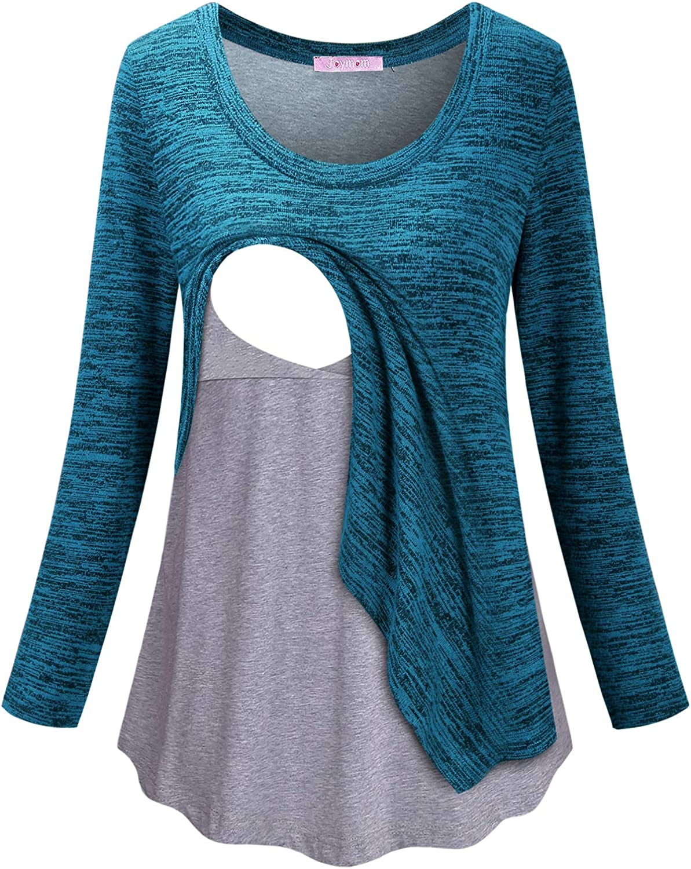 JOYMOM Maternity Fashion V Neck Buttons Irregular Hem Nusing T-Shirt with Hood