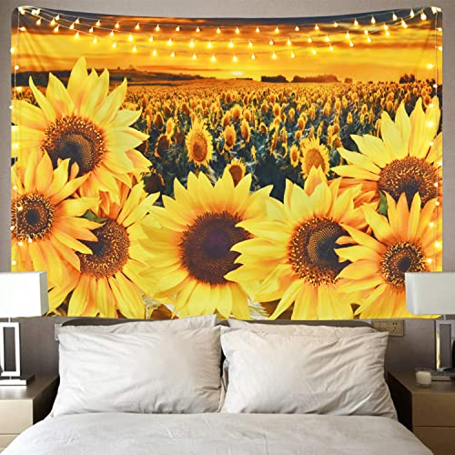 Sunflower Tapestry Sunset Sunflower Field Tapestry Floral Plant Tapestry Yellow Flower Tapestry for Room