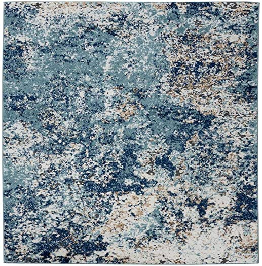 Persian Rugs 6490 Blue 9 x 12 Abstract Modern Area Rug
