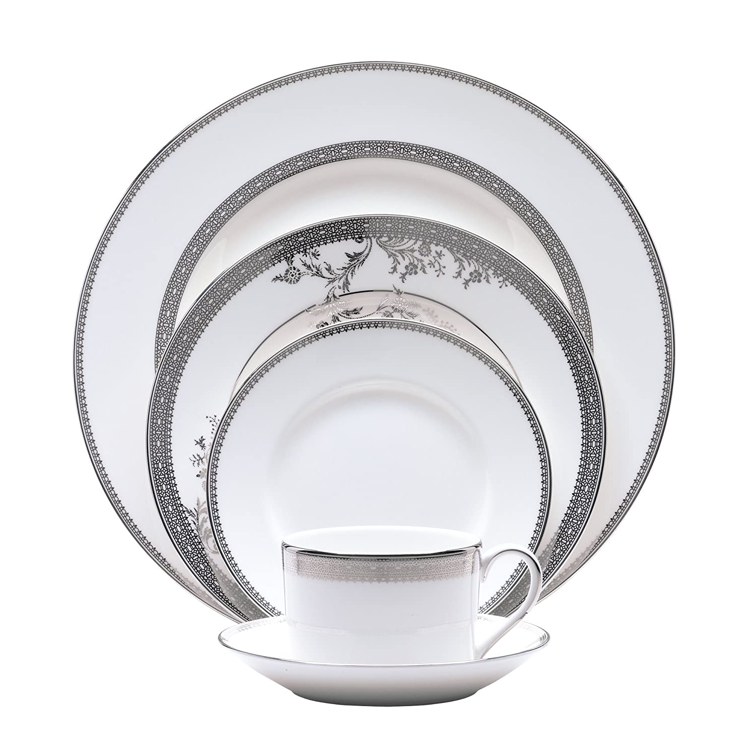 Amazon.com Vera Wang Wedgwood Vera Lace Five-Piece Place Setting Kitchen \u0026 Dining  sc 1 st  Amazon.com : wedgwood dinnerware patterns - pezcame.com