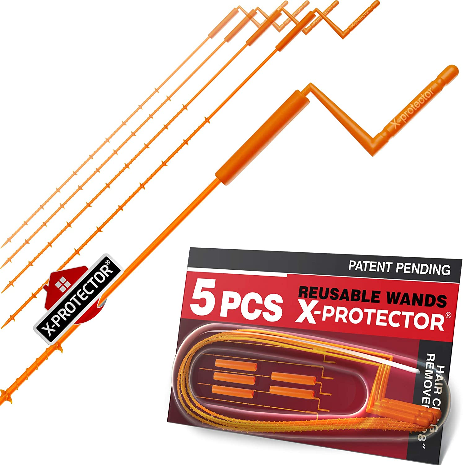 "X-PROTECTOR DRAIN CLOG REMOVER – PREMIUM DRAIN SNAKE – 28"" Drain Cleaner – 5 pcs Hair Clog Removers – Drain Hair Catcher with Rotating Handle – Orange Sink Drain Snakes – TOTAL DRAIN CLEANING!"