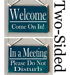 Amazon.com: Two Sided Welcome Please Knock/In A Meeting Please Do ...
