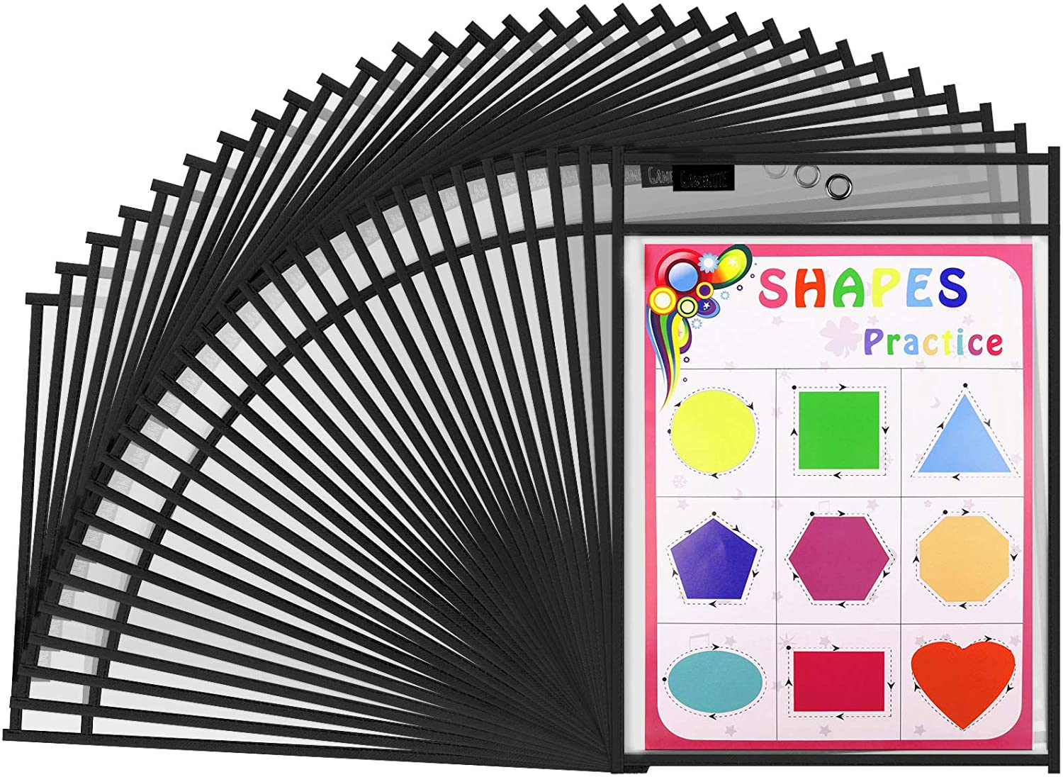 Gamenote Dry Erase Pockets 30 Pack with Rings - Oversized Reusable Plastic Sleeves Shop Ticket Holders Sheet Protectors Teacher Supplies for Classroom Organization (Black) : Office Products