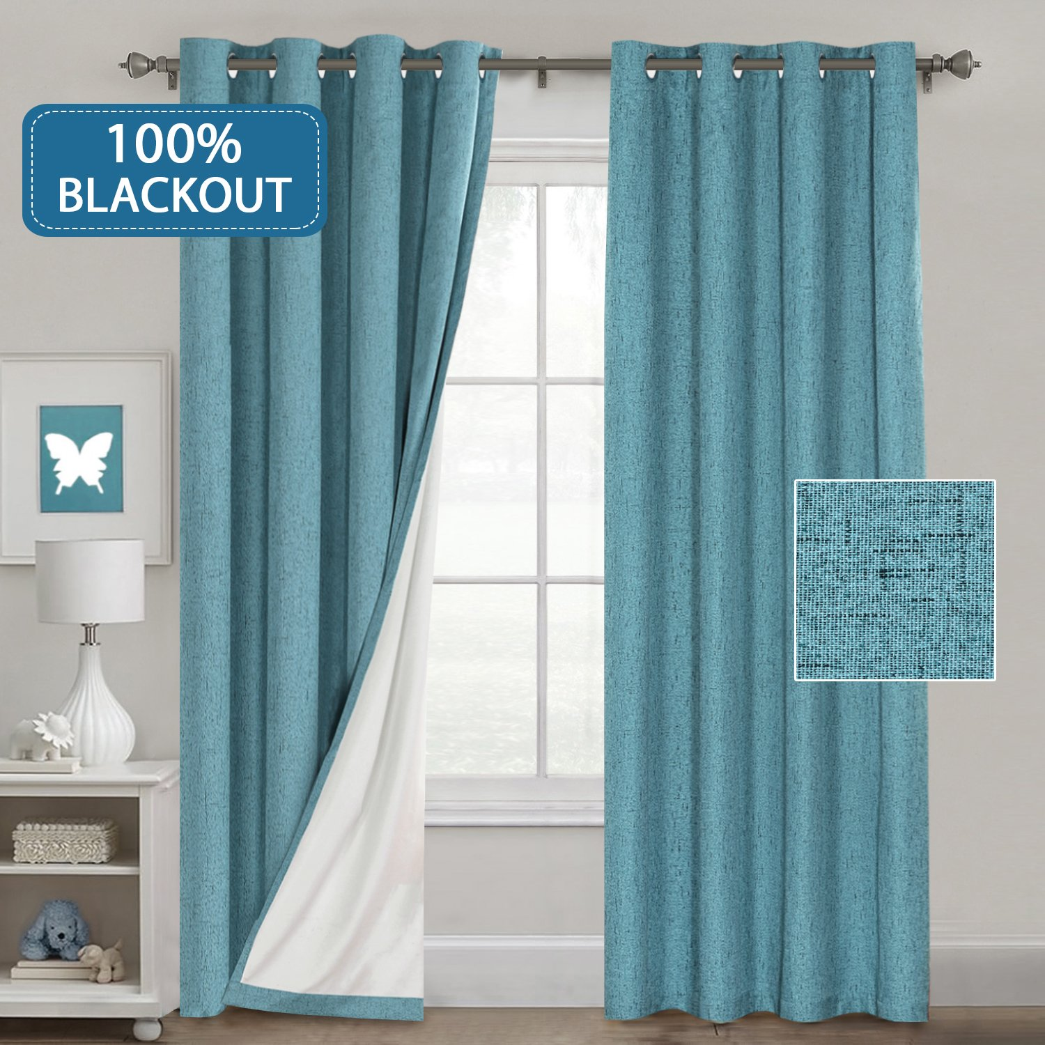 Teal 100% Blackout Linen Textured Curtains for Living Room/Bedroom Thermal  Insulated 100% Blackout Curtains Water Proof Anti Rust Grommet Window ...