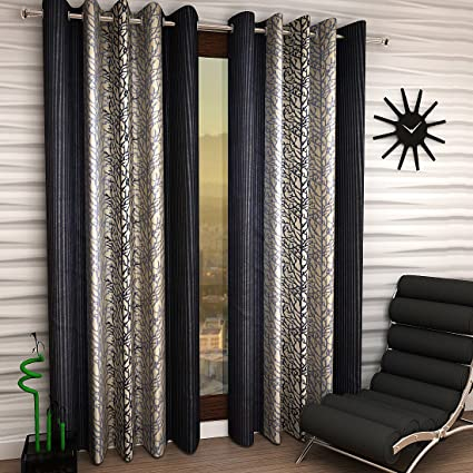 Home Sizzler 2 Piece Eyelet Polyester Window Curtain Set - 5ft, Grey