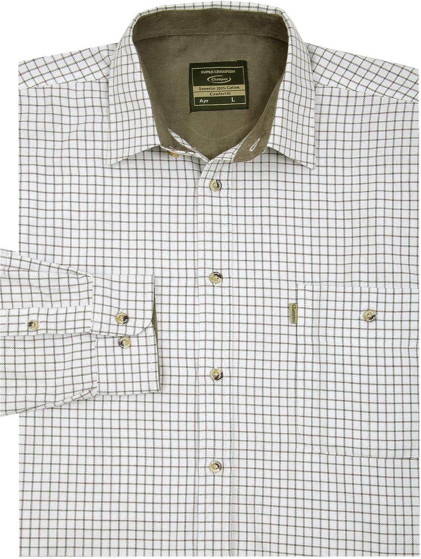 100//% algod/ón Walker and Hawkes Camisa de Manga Larga para Hombre Estampado a Cuadros Estilo le/ñador
