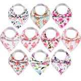 10-Pack Baby Bandana Bibs Upsimples Baby Girl Bibs for Drooling and Teething, Super Absorbent Bibs Baby Shower Gift…