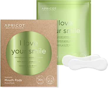 ORIGINAL APRICOT beauty & healthcare Mouth Pads, medical grade Silicone care Mouth Pads with highly effective Hyaluronan to smooth Wrinkles, reusable up to 30 times!