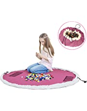 Toy Mat Storage Bag - Play Mat and Storage Bag for Lego/Magnetic Building/Blocks- Toy Storage Mat Bag Drawstring Convenient Fast Neat with Durable100% Cotton Canvas 60inch (Pink)