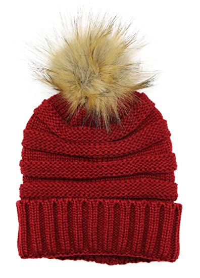 Bioterti Women s Slouchy Knit Beanie  Winter Bobble Hat w Faux Fur Pom Pom 4ea15c3c378