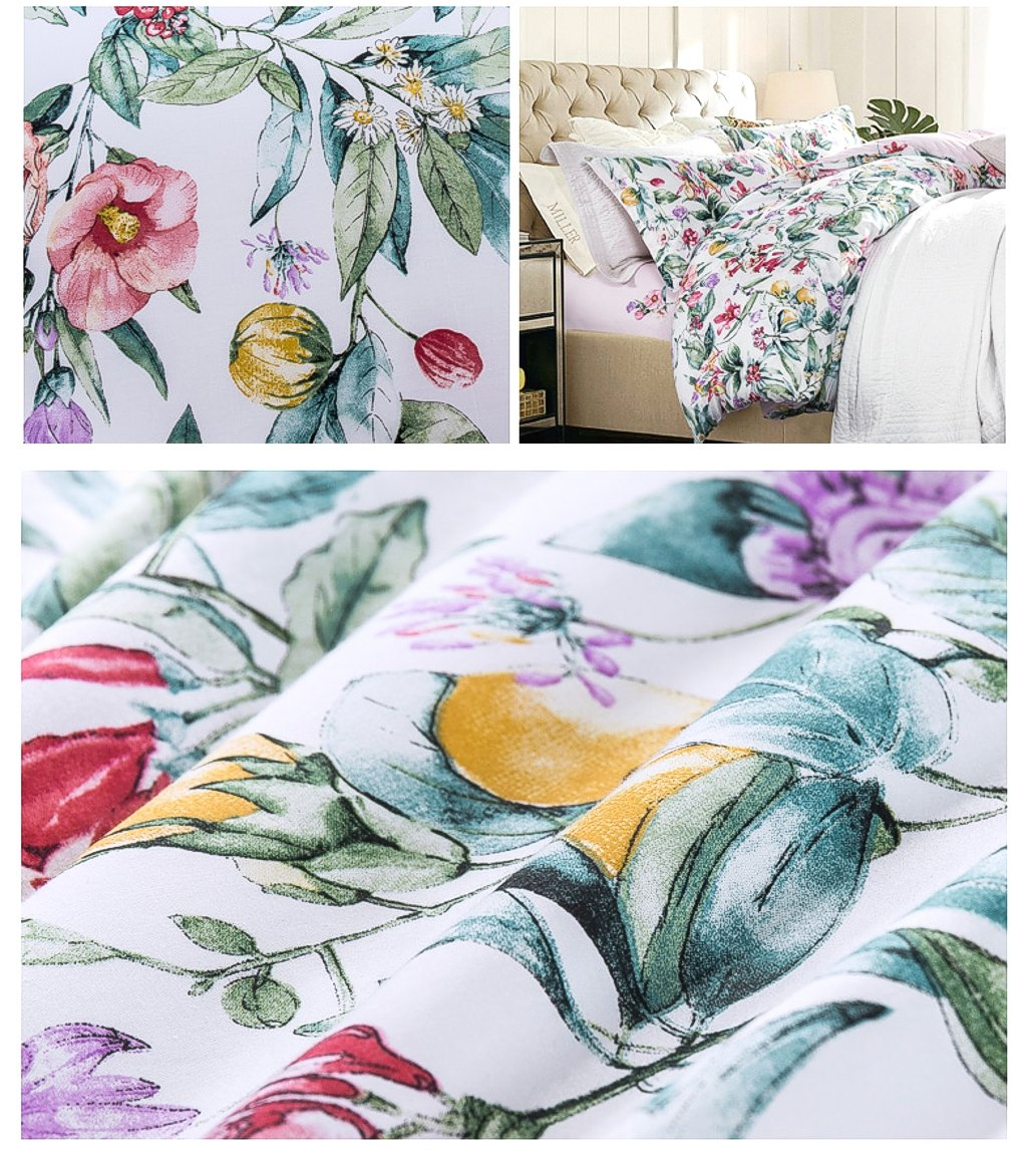 3 Piece Duvet Cover Set Multicolored Roses Peonies Bouquet 100-percent Cotton Shabby Chic Reversible Floral Bedding