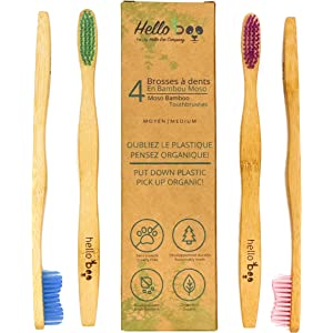 Bamboo Toothbrush - Pack of 8 Biodegradable Tooth Brush Set - Organic Eco-Friendly Moso