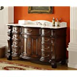 "60"" Large and Spacious Single Sink Bathroom vanity cabinet - Model DG-4437W-60 Hopkinton"