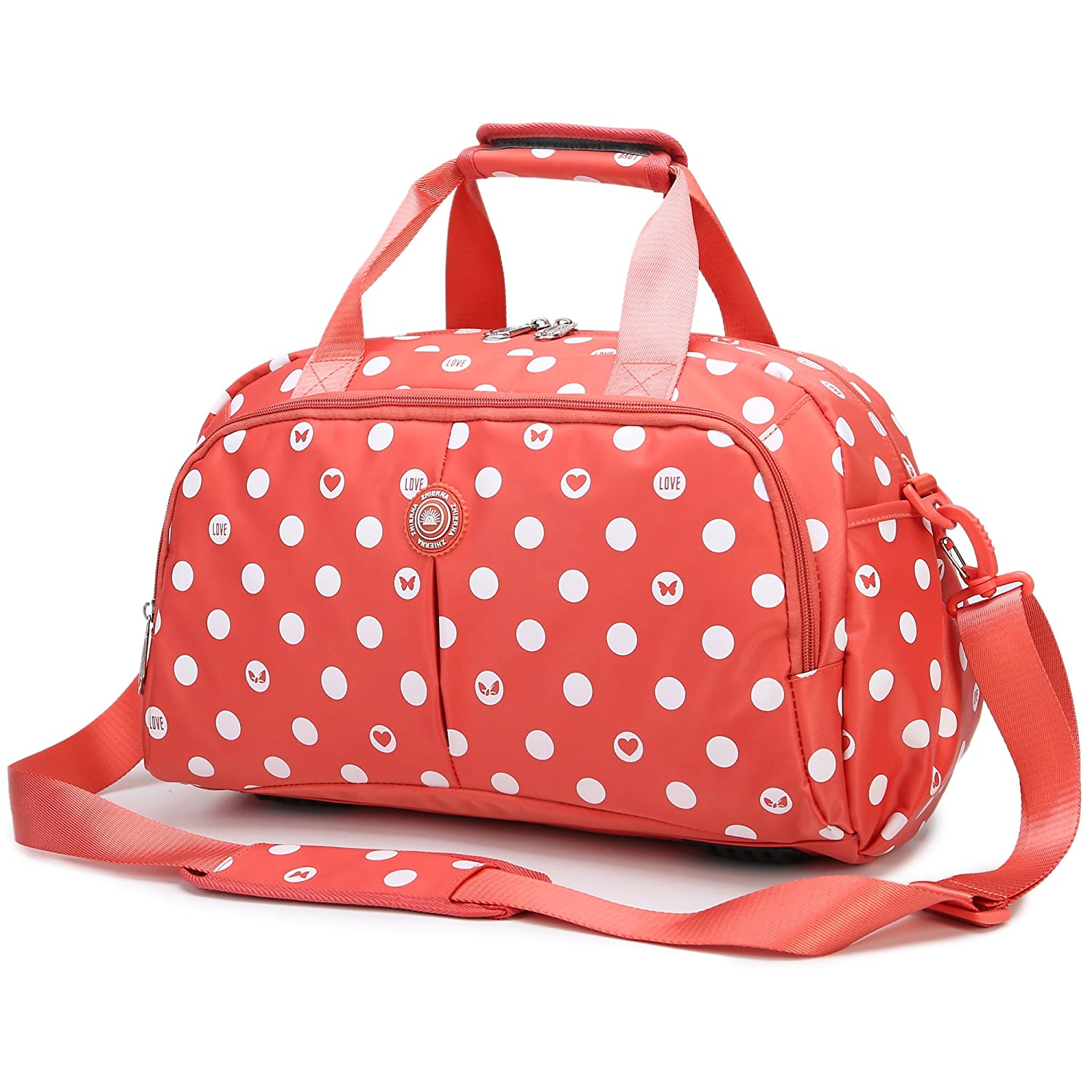 AOKE Water Resistant Travel Totes Duffel Luggage Bag Overnight Weekend Bag Nylon Fabric Stand Bag Spots Orange with Anti-theft Free Gift