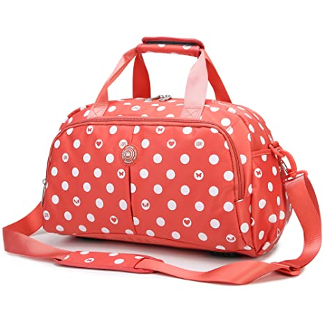 ac9b520b8a AOKE Water Resistant Travel Totes Duffel Luggage Bag Overnight Weekend Bag  Nylon Fabric Stand Bag Spots Orange with Anti-theft Free Gift  Amazon.ca   Luggage ...