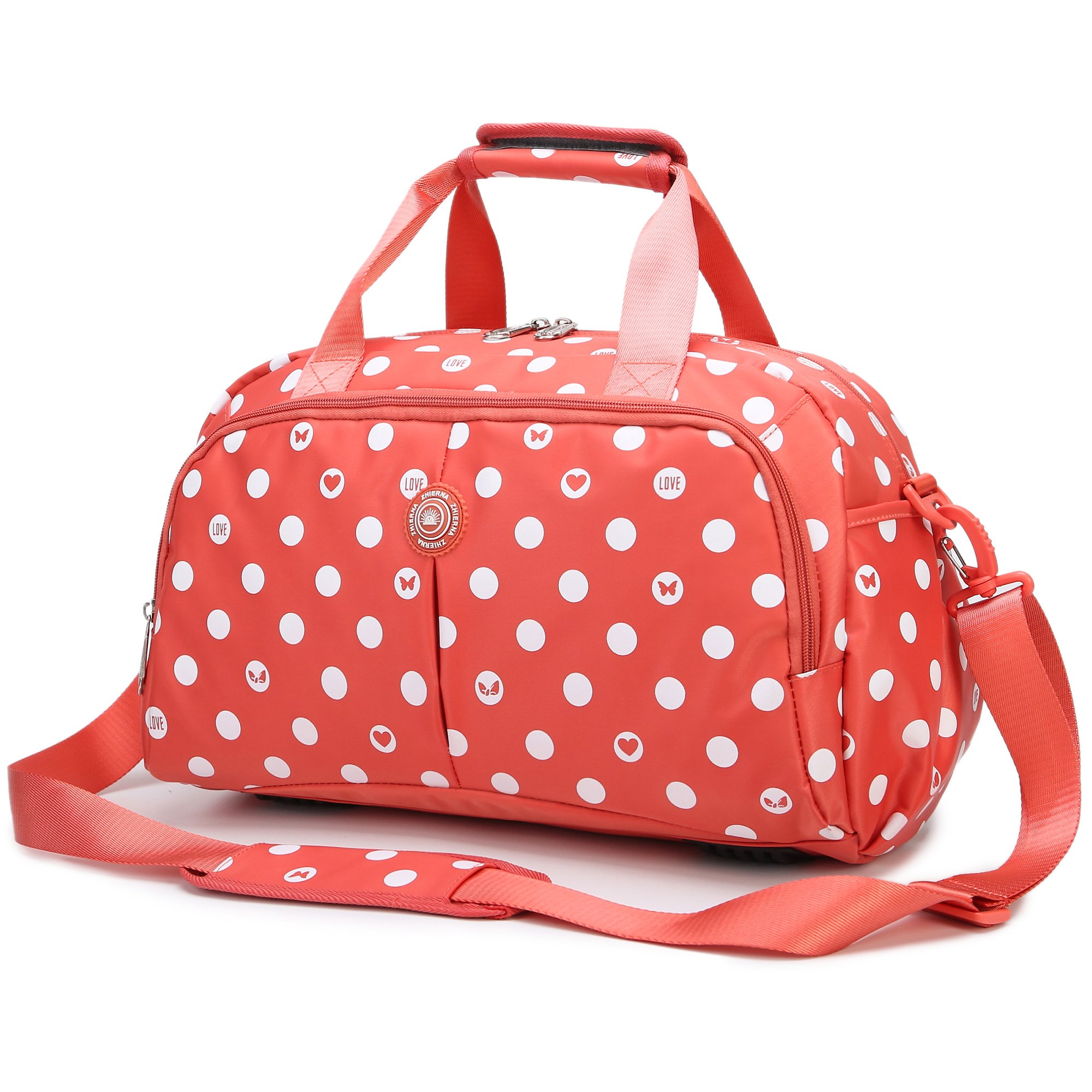 AOKE Water Resistant Travel Totes Duffle Luggge Bag Overnight Weekend Bag Nylon Fabric Stand Bag Spots Orange with Anti-theft Free Gift