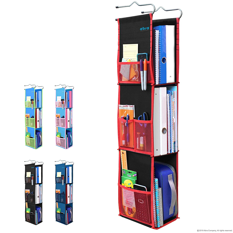 3 Shelf Hanging Locker Organizer for School, Gym, Work, Storage - Upgraded | Abra Company | Eco-Friendly Fabric Healthy for Children | Adjustable School Locker Shelf from 3 to 2 Shelves (Black/Red)