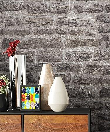 NEWROOM Steintapete Tapete Beige Mauer Stein Modern Vliestapete Grau Vlies  Moderne Design 3D Optik Steintapete Ziegelstein