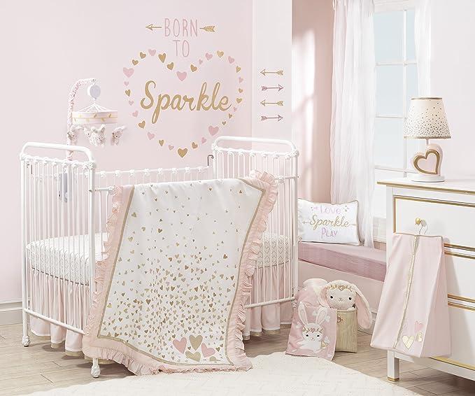 Lambs Ivy Confetti Heart 4 Piece Crib Bedding Set Pink Gold Baby