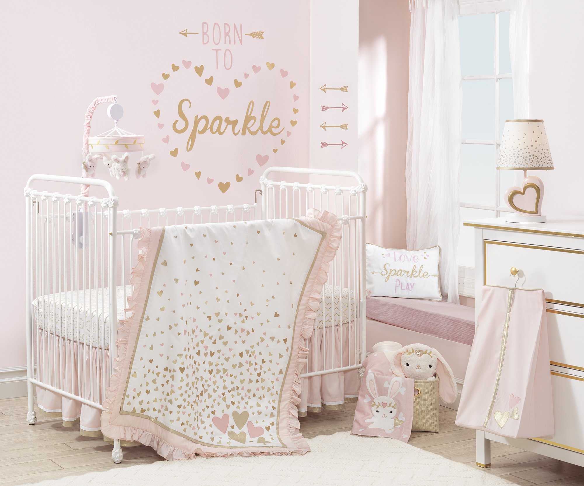 Lambs & Ivy Confetti Heart 4 Piece Crib Bedding Set, Pink/Gold