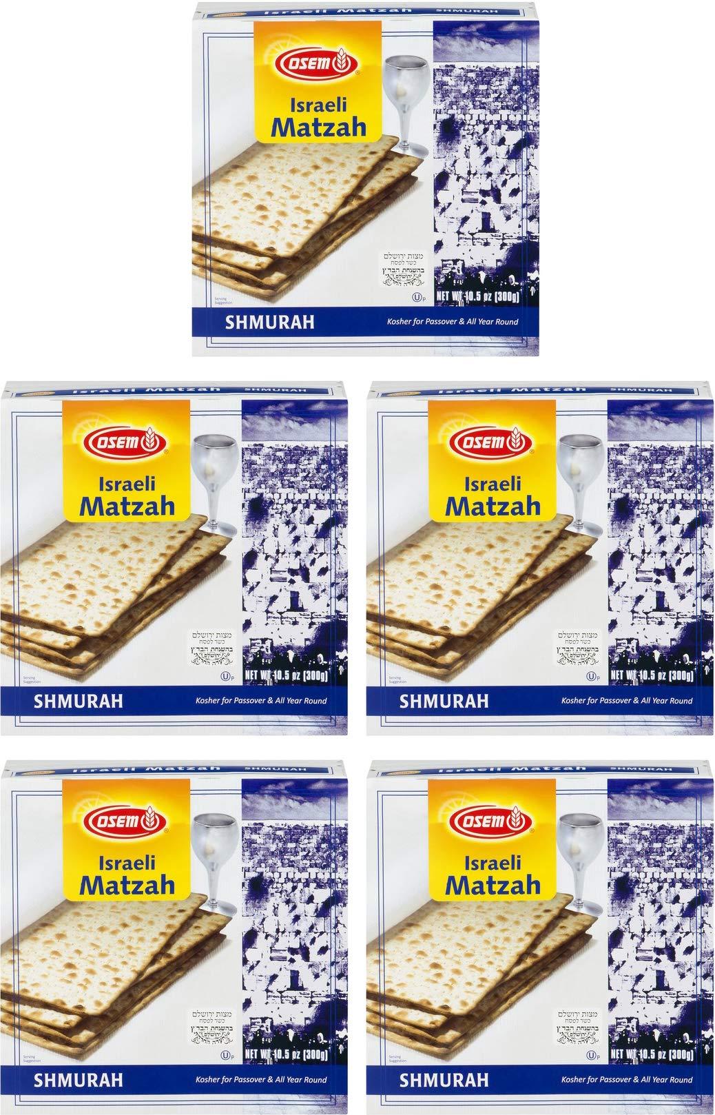 Osem Shmurah Matzah, Kosher For Passover Israel Matzos, 10.5 oz (Pack of 5)