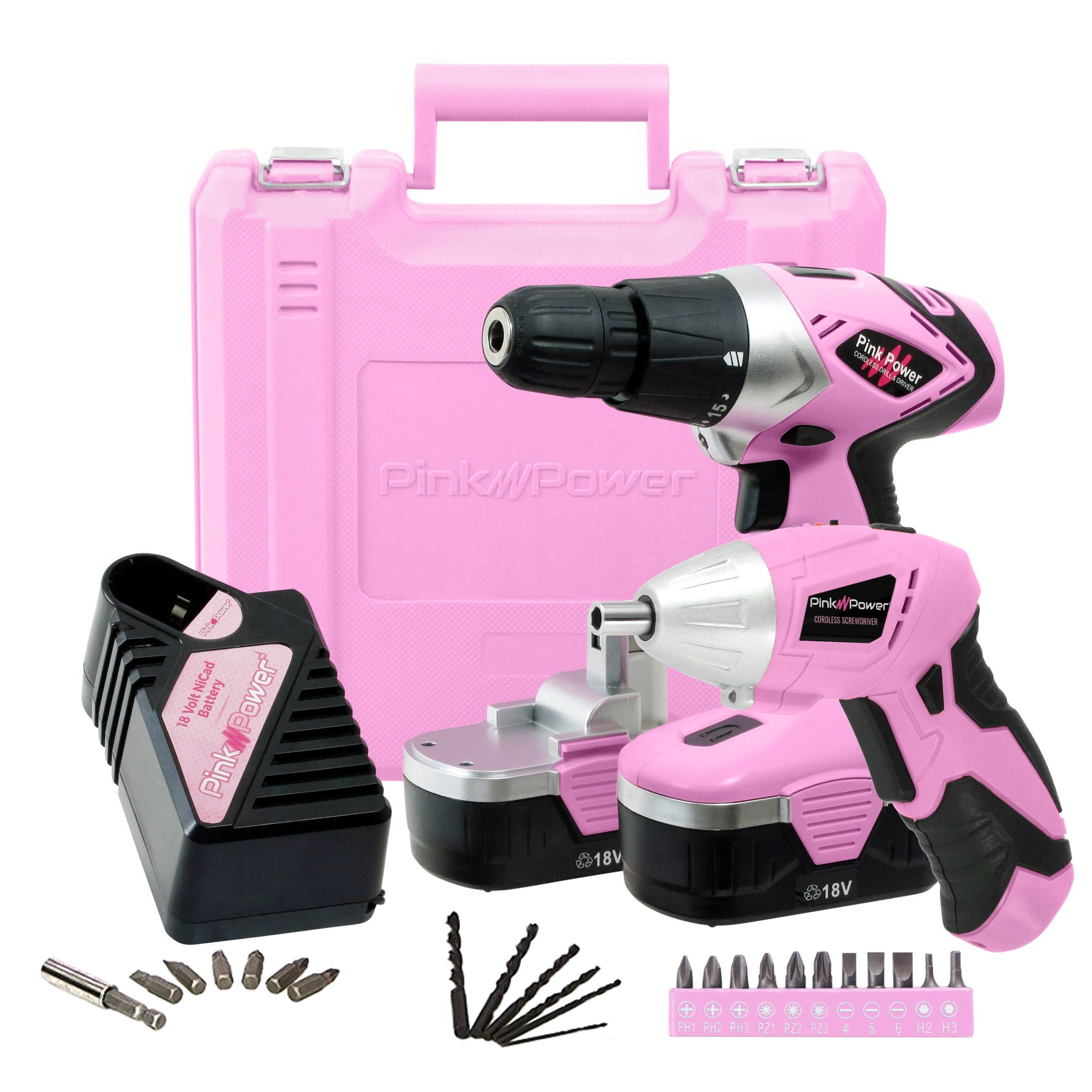 Pink Power PP1848K Electric Screwdriver Set and 18 Volt Cordless Drill Driver with Charger and Bit Set