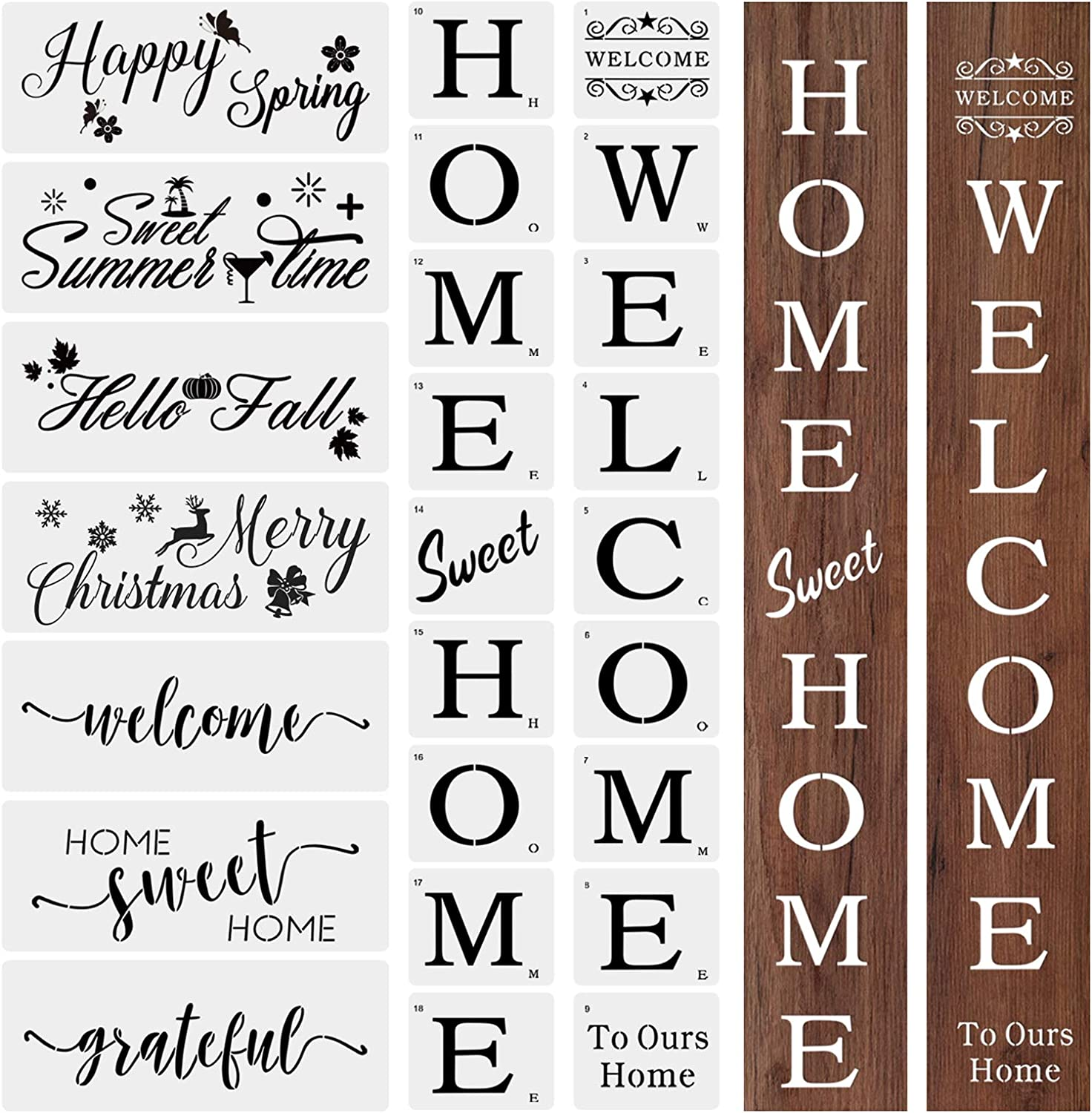 25 PCS Large Welcome and Home Sign Stencils Kit, Welcome Stencil Sweet Home Stencil Seasonal Stencils Grateful Reusable Template for Creating Painting Beautiful Wood
