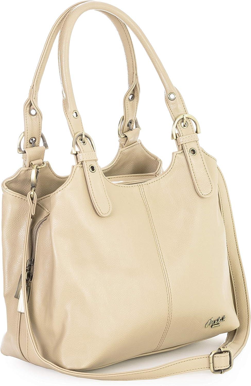 Ladies Genuine Patch Leather Handbag Shoulder Bag Dual Zip Compartments Multi