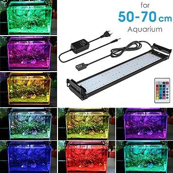 Lámpara Acuario Luces Impermeable Iluminación LED 16 Colores Aluminio para Acuarios de Peces y Estanques con Control Remoto 14W Luz Azul y Blanca para ...