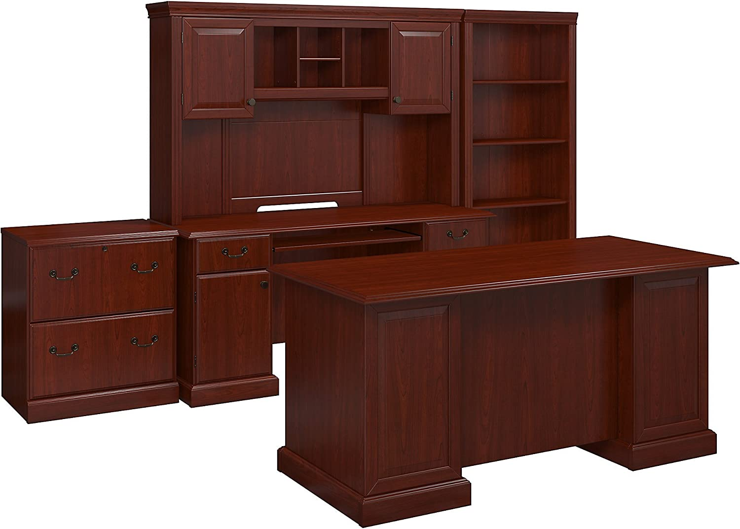 Lateral File and Bookcase in Harvest Cherry Credenza with Hutch kathy ireland Home by Bush Furniture Bennington Managers Desk