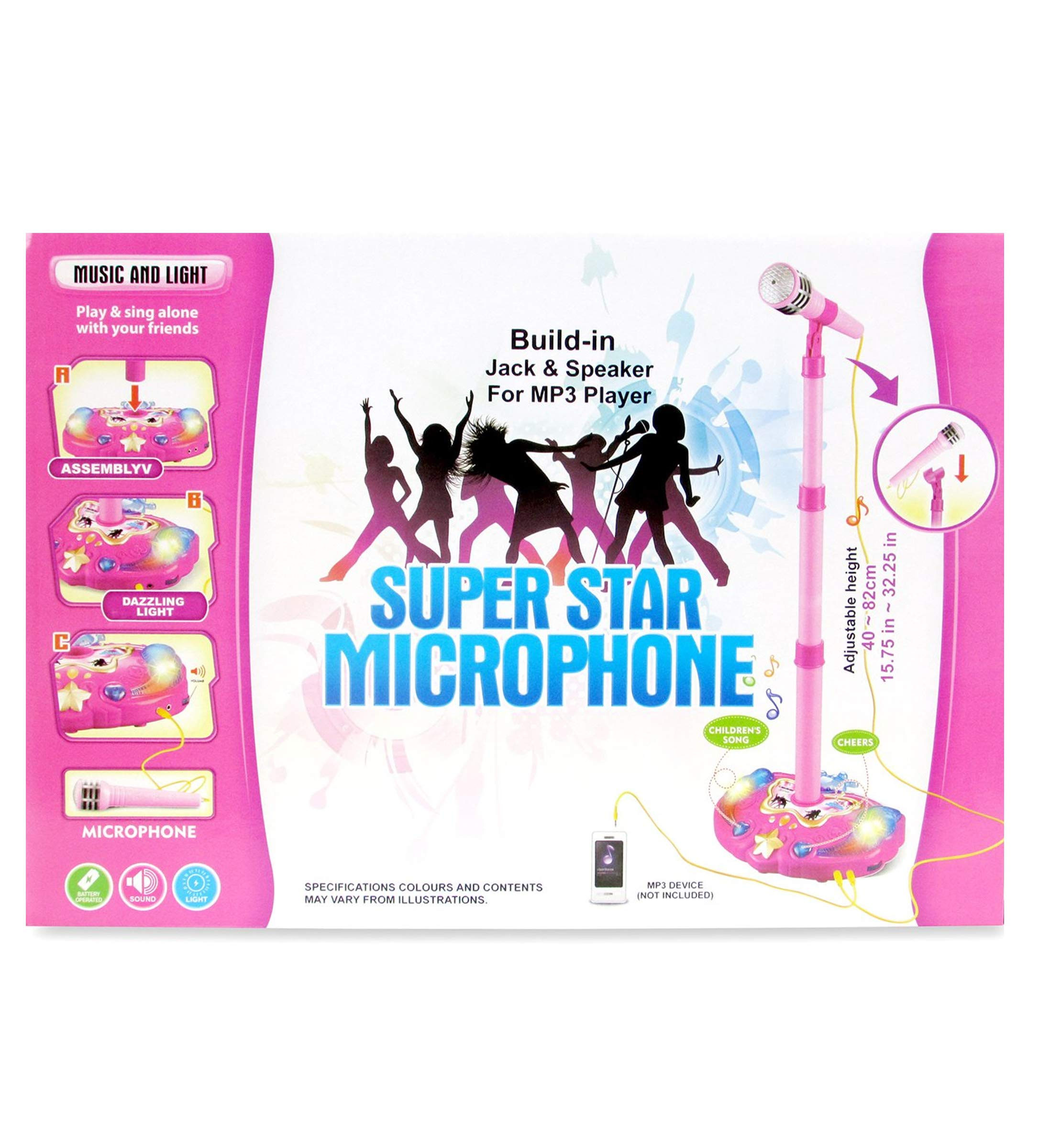 Mozlly Pink Light Up Karaoke Machine with Toy Microphone & Adjustable Stand, Connect to MP3 Player AUX Smart Phones for Solo Singing Parties Sing-A-Along Built in Speaker Flashing Lights for Kids by Mozlly (Image #2)
